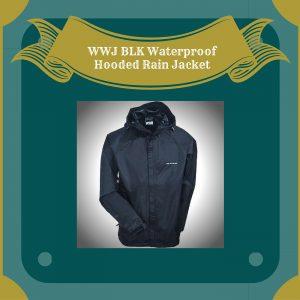 WWJ BLK Waterproof Hooded Rain Jacket