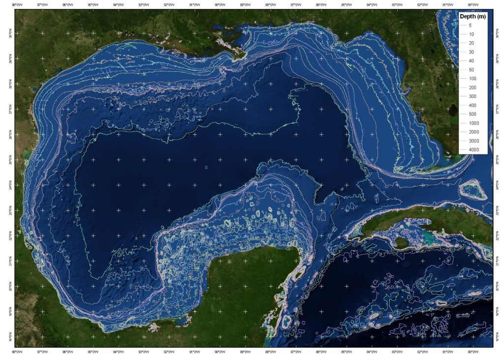 Depth of the Gulf of Mexico