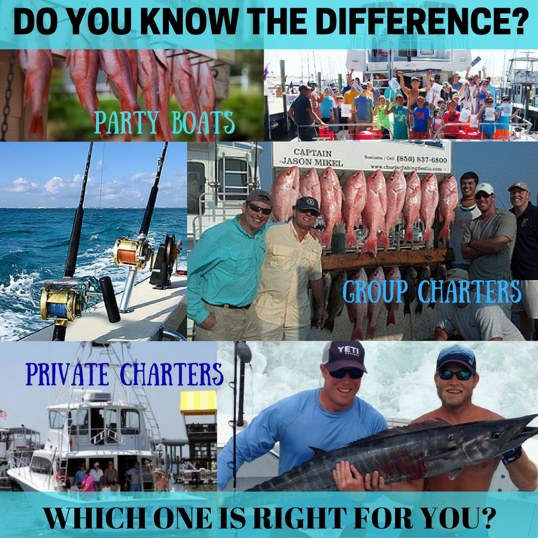 Party boats vs group charters vs private charters for Party boat fishing destin fl